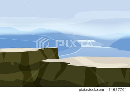 Mountain landscape plateau rock. Rocks hills river fjord sea horizon space parallax panorama. Vector