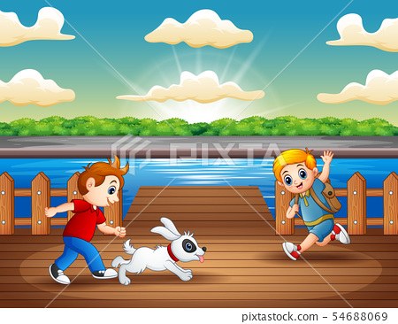 Happy children playing in the river 54688069