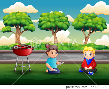 Mom is going to have a barbecue party with her son 54688097