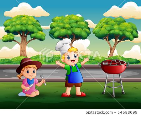 Children having barbecue at backyard 54688099
