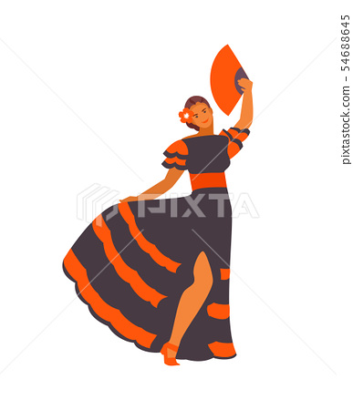 Spanish dancer girl vector 54688645