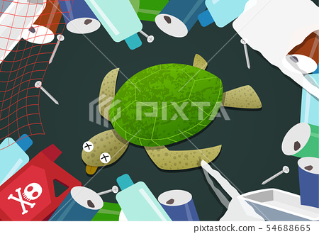 Dead turtle in pile of garbage at ocean pollution 54688665