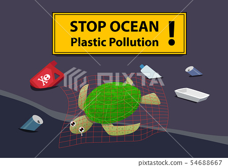 Corpse turtle at beach pollution with oil and junk 54688667