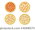 Top view, Set of italian pizza on white, vector 54688674