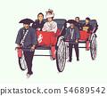 Traditional Japanese wedding, pulled rickshaw 54689542