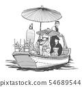 Traditional Japanese wedding, bridal wooden boat 54689544