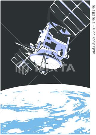 Illustration of satelite orbiting in space 54689546