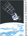 Illustration of satelite orbiting in space 54689547