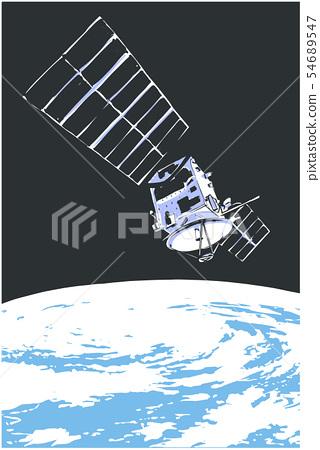 Illustration of satelite orbiting in space 54689547