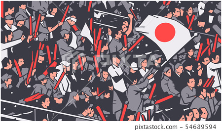 Arena stadium crowd waving Japanese flag 54689594