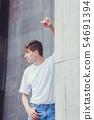 handsome man wearing white blank t-shirt 54691394