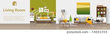 Interior background with living room and bedroom 54691454
