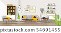 Living room in mid century modern style background 54691455