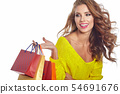 Shopping woman holding bags, isolated on white 54691676