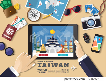 Hand holding smart tablet booking travel 54692508