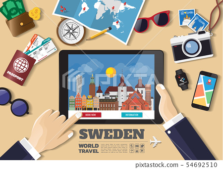Hand holding smart tablet booking travel 54692510