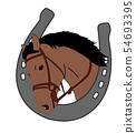 horse head in horseshoe, logo design 54693395