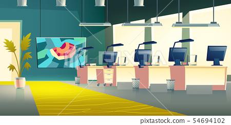 Modern company office hall interior cartoon vector 54694102