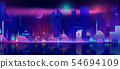 Night city in neon lights. Futuristic cityscape 54694109