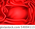 Red silk draped fabric background, folded frame 54694113