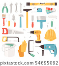 Construction equipment constructive tools of builder or constructor with hammer and screwdriver 54695092