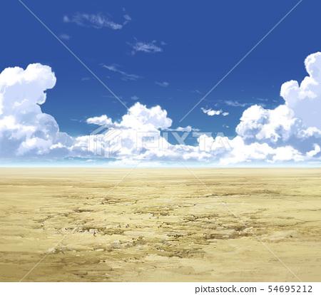 藍天和雲彩和原野03_06 54695212