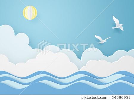 종이 공예 - 하늘 - 구름 - 태양 - 바다 - 조류 54696955
