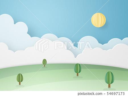 종이 공예 - 하늘 - 구름 - 태양 - 대지 54697173