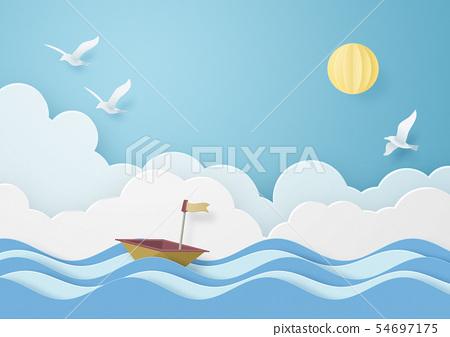 종이 공예 - 하늘 - 구름 - 배 - 바다 - 조류 54697175