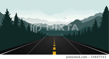 straigth road in the forest with green mountain landscape 54697543
