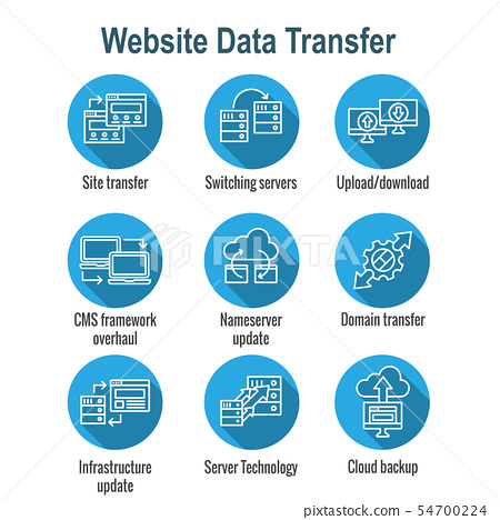 Website Data Transfer Icon Set with laptops, 54700224