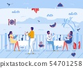 People Relaxing in Summer Cafe Outdoors, Vacation 54701258