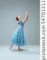 Contemporary ballroom dancer on grey studio background 54701311