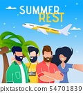 Summer Vacation Airplane Trip Flat Vector Banner 54701839