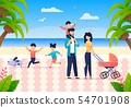 Summer Joint Family Vacation on Ocean. Happy Time 54701908
