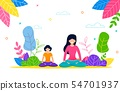 Happy Mom and Daughter do Yoga Outdoors in Pack 54701937