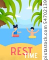 Summer Vacation on Tropical Resort Vector Banner 54702139