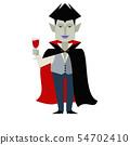 빨간 토마토 주스가 들어간 와인 잔을 손에 들고 뱀파이어의 일러스트 54702410