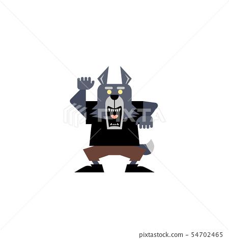 Illustration of a cute wolf man 02 54702465