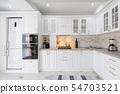 modern white wooden kitchen interior 54703521