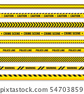 Yellow And Black Barricade Construction Tape. Police Warning Line. Brightly Colored Danger or Hazard 54703859