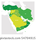 West Asia Region. Map of countries in western Asia or Middle East. Vector illustration 54704915
