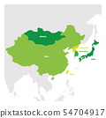 East Asia Region. Map of countries in eastern Asia. Vector illustration 54704917