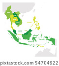 Southeast Asia Region. Map of countries in southeastern Asia. Vector illustration 54704922