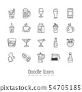 Doodle Drinks Icons. 54705185