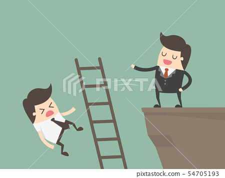 Ruthless Businessman Pushing Down Competitors. 54705193