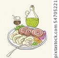 Meatloaf, olive oil and garnish 54705221