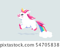 Cute unicorn vector background. Baby fairy animal pony illustration in cartoon style for girl kid 54705838