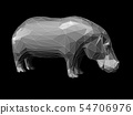3D Illustration of low poly style hippo 54706976