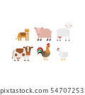 Different farm animals icons set 54707253